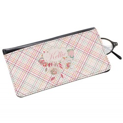 Modern Plaid & Floral Genuine Leather Eyeglass Case (Personalized)