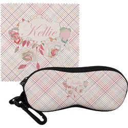 Modern Plaid & Floral Eyeglass Case & Cloth (Personalized)