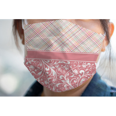 Modern Plaid & Floral Face Mask Cover (Personalized)