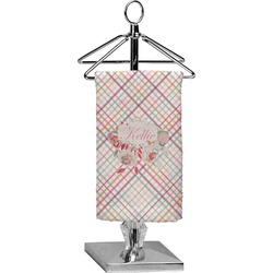 Modern Plaid & Floral Finger Tip Towel - Full Print (Personalized)
