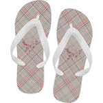 Modern Plaid & Floral Flip Flops (Personalized)