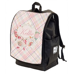 Modern Plaid & Floral Backpack w/ Front Flap  (Personalized)