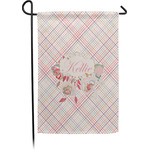 Modern Plaid & Floral Garden Flag - Single or Double Sided (Personalized)