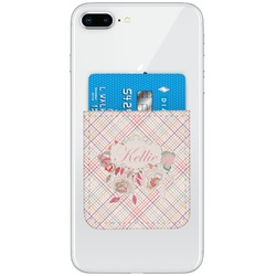 Modern Plaid & Floral Genuine Leather Adhesive Phone Wallet (Personalized)