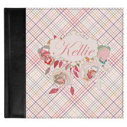 Modern Plaid & Floral Genuine Leather Baby Memory Book (Personalized)