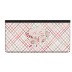 Modern Plaid & Floral Genuine Leather Checkbook Cover (Personalized)