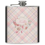 Modern Plaid & Floral Genuine Leather Flask (Personalized)
