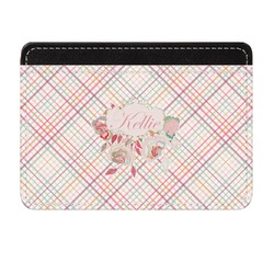 Modern Plaid & Floral Genuine Leather Front Pocket Wallet (Personalized)