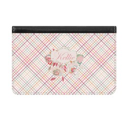 Modern Plaid & Floral Genuine Leather ID & Card Wallet - Slim Style (Personalized)