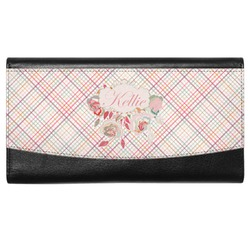 Modern Plaid & Floral Genuine Leather Ladies Wallet (Personalized)