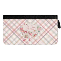 Modern Plaid & Floral Genuine Leather Ladies Zippered Wallet (Personalized)