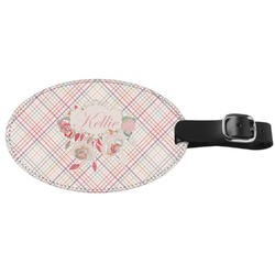Modern Plaid & Floral Genuine Leather Oval Luggage Tag (Personalized)