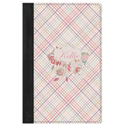 Modern Plaid & Floral Genuine Leather Passport Cover (Personalized)