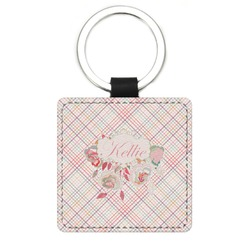 Modern Plaid & Floral Genuine Leather Rectangular Keychain (Personalized)