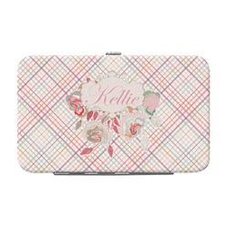 Modern Plaid & Floral Genuine Leather Small Framed Wallet (Personalized)