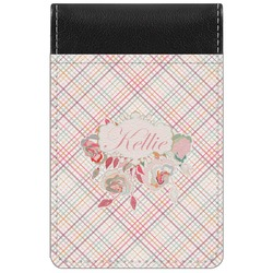 Modern Plaid & Floral Genuine Leather Small Memo Pad (Personalized)