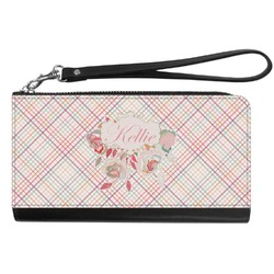 Modern Plaid & Floral Genuine Leather Smartphone Wrist Wallet (Personalized)