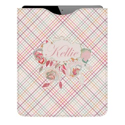 Modern Plaid & Floral Genuine Leather iPad Sleeve (Personalized)