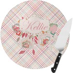 Modern Plaid & Floral Round Glass Cutting Board (Personalized)