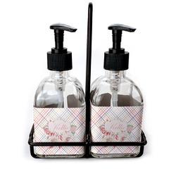 Modern Plaid & Floral Soap & Lotion Dispenser Set (Glass) (Personalized)