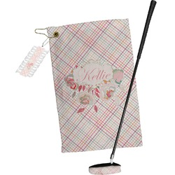 Modern Plaid & Floral Golf Towel Gift Set (Personalized)