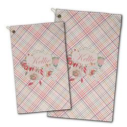Modern Plaid & Floral Golf Towel - Full Print w/ Name or Text