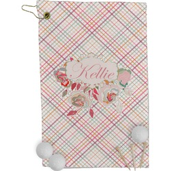 Modern Plaid & Floral Golf Towel - Full Print (Personalized)