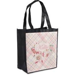 Modern Plaid & Floral Grocery Bag (Personalized)