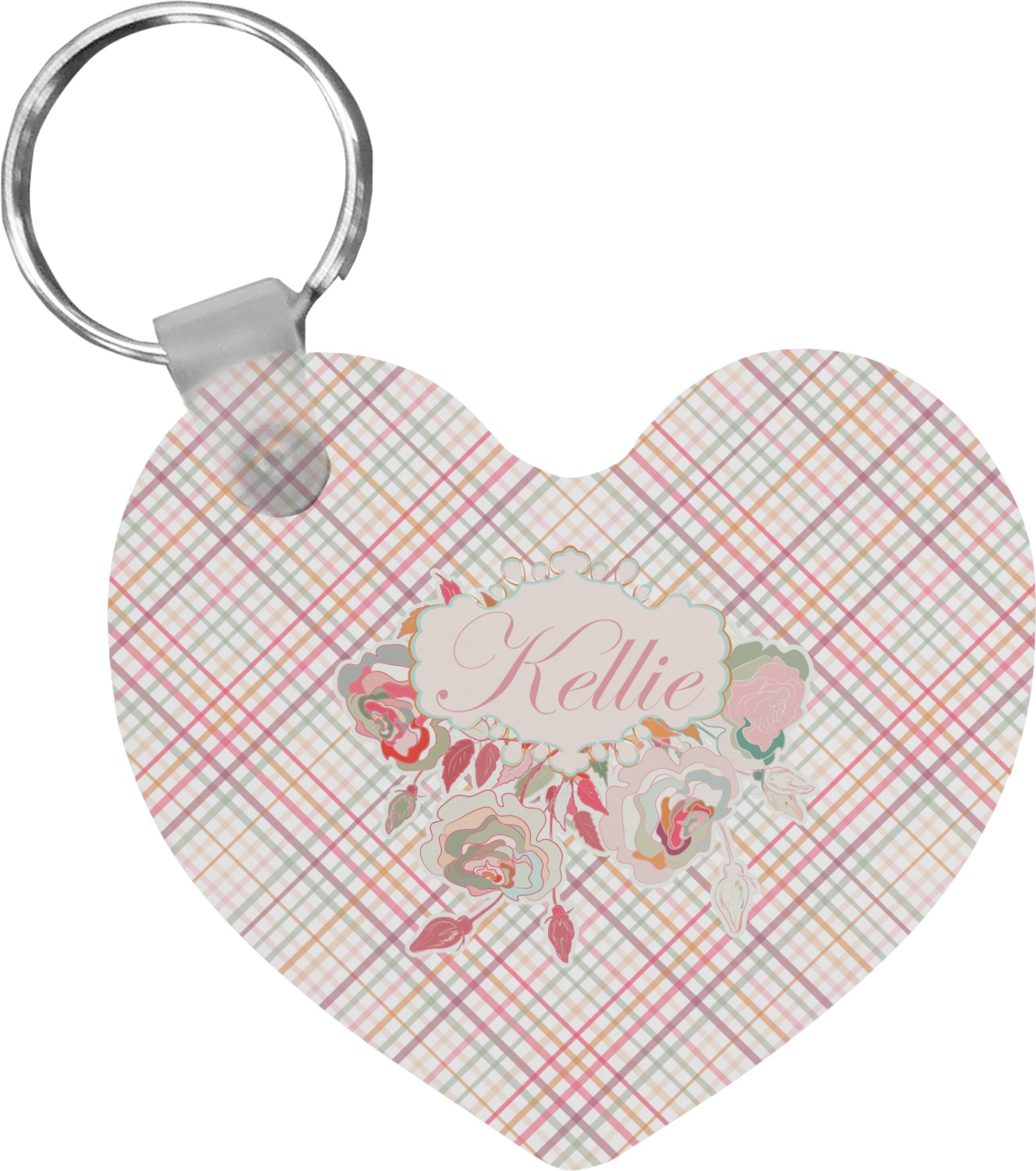 Modern Plaid Floral Heart Keychain Personalized You