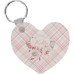 Modern Plaid & Floral Heart Keychain (Personalized)