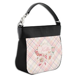 Modern Plaid & Floral Hobo Purse w/ Genuine Leather Trim (Personalized)