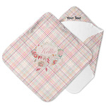 Modern Plaid & Floral Hooded Baby Towel (Personalized)
