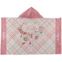 Modern Plaid & Floral Kids Hooded Towel (Personalized)