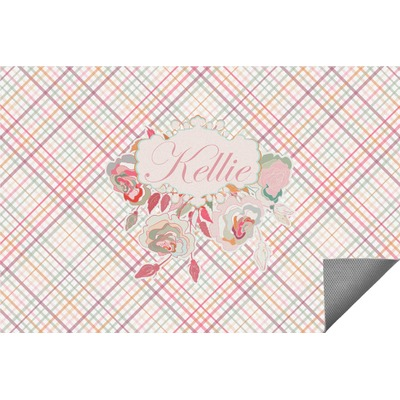 Modern Plaid & Floral Indoor / Outdoor Rug (Personalized)