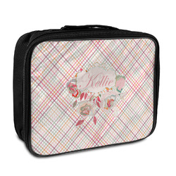 Modern Plaid & Floral Insulated Lunch Bag (Personalized)