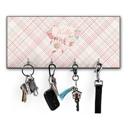 Modern Plaid & Floral Key Hanger w/ 4 Hooks (Personalized)