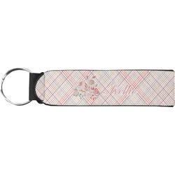 Modern Plaid & Floral Neoprene Keychain Fob (Personalized)