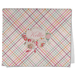 Modern Plaid & Floral Kitchen Towel - Full Print (Personalized)