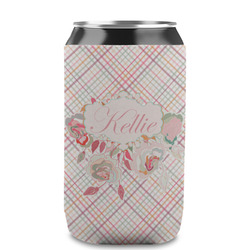 Modern Plaid & Floral Can Sleeve (12 oz) (Personalized)