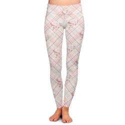 Modern Plaid & Floral Ladies Leggings - Extra Large (Personalized)
