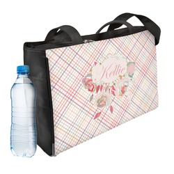 Modern Plaid & Floral Ladies Workout Bag (Personalized)