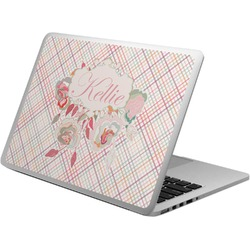Modern Plaid & Floral Laptop Skin - Custom Sized (Personalized)