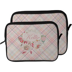Modern Plaid & Floral Laptop Sleeve / Case (Personalized)