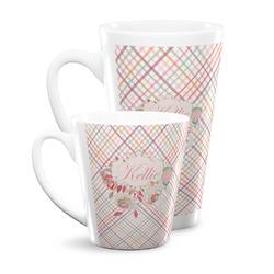 Modern Plaid & Floral Latte Mug (Personalized)