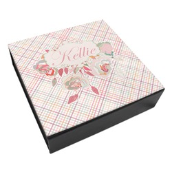 Modern Plaid & Floral Leatherette Keepsake Box - 3 Sizes (Personalized)