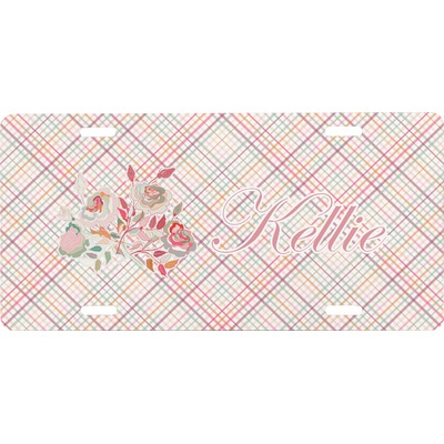 Modern Plaid & Floral Front License Plate (Personalized)