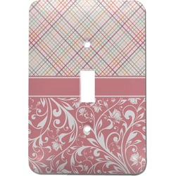 Modern Plaid & Floral Light Switch Cover (Single Toggle) (Personalized)