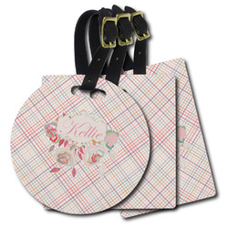 Modern Plaid & Floral Plastic Luggage Tags (Personalized)