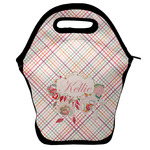Modern Plaid & Floral Lunch Bag w/ Name or Text