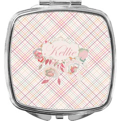Modern Plaid & Floral Compact Makeup Mirror (Personalized)